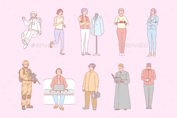 Different People Occupations Professions Set