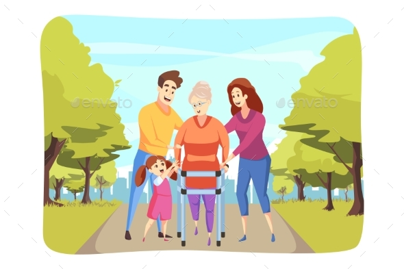 Care Family Support Health Walking Concept