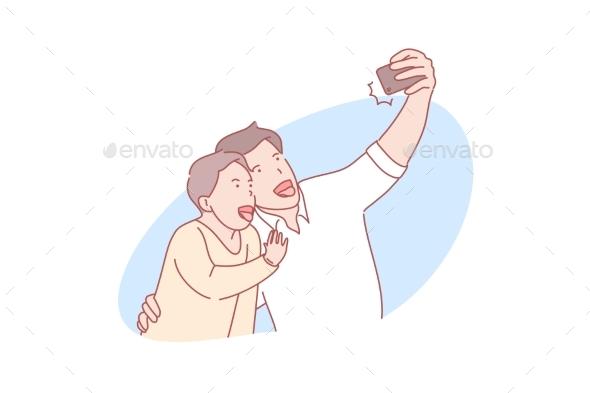 Selfie Fatherhood Fathersday Concept