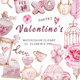 Valentine's Day Watercolor Clipart, Pink Valentines - GraphicRiver Item for Sale
