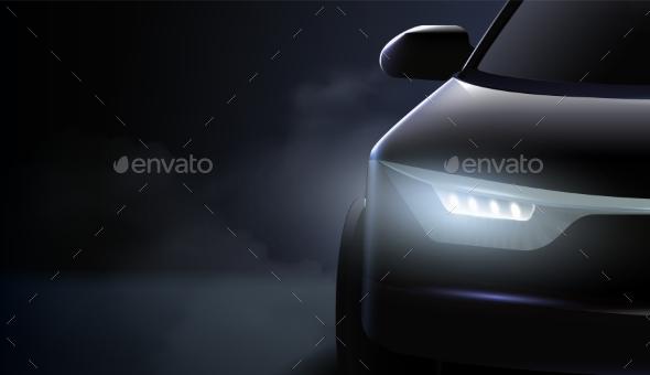 Black Car Headlights Ad Composition