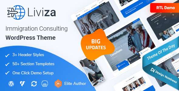 Liviza – Immigration Consulting WordPress Theme, Gobase64