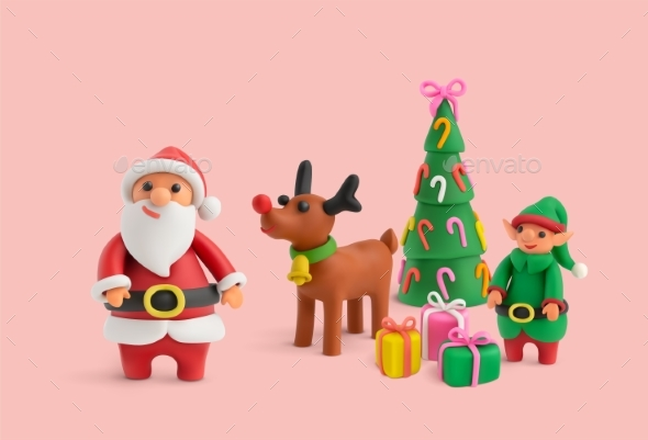 Merry Christmas Plasticine Realistic Background
