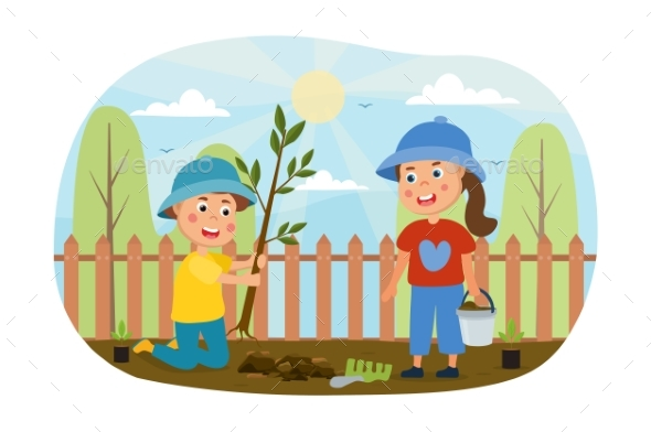 Two Young Kids Working in the Garden Together
