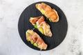 Bruschetta with prosciutto and cream cheese. Bread with hamon and cream cheese. - PhotoDune Item for Sale