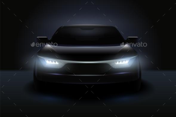 Car Headlights Realistic Composition