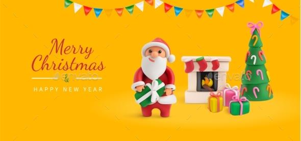 Merry Christmas Yellow Greeting Card