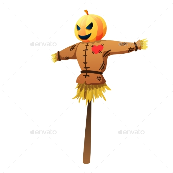 Halloween Scarecrow Colorful Vector Illustration