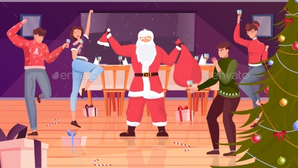 Christmas Party Flat Background