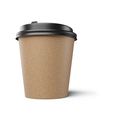 Brown disposable coffee paper cup isolated on white. 3d rendering. - PhotoDune Item for Sale