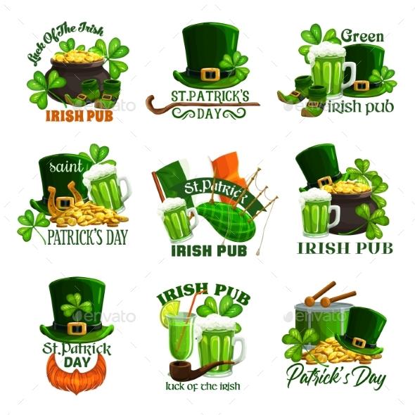 St Patricks Day Holiday Icons of Irish Pub Party