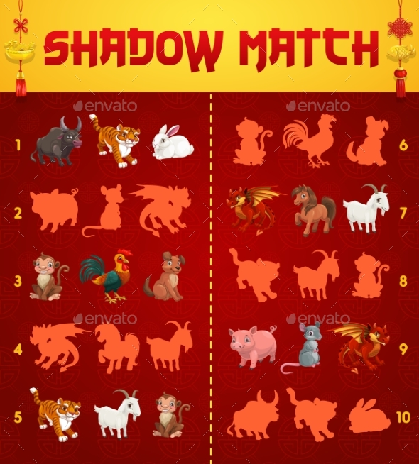 Kids Shadow Match Game with Chinese Zodiac Animals