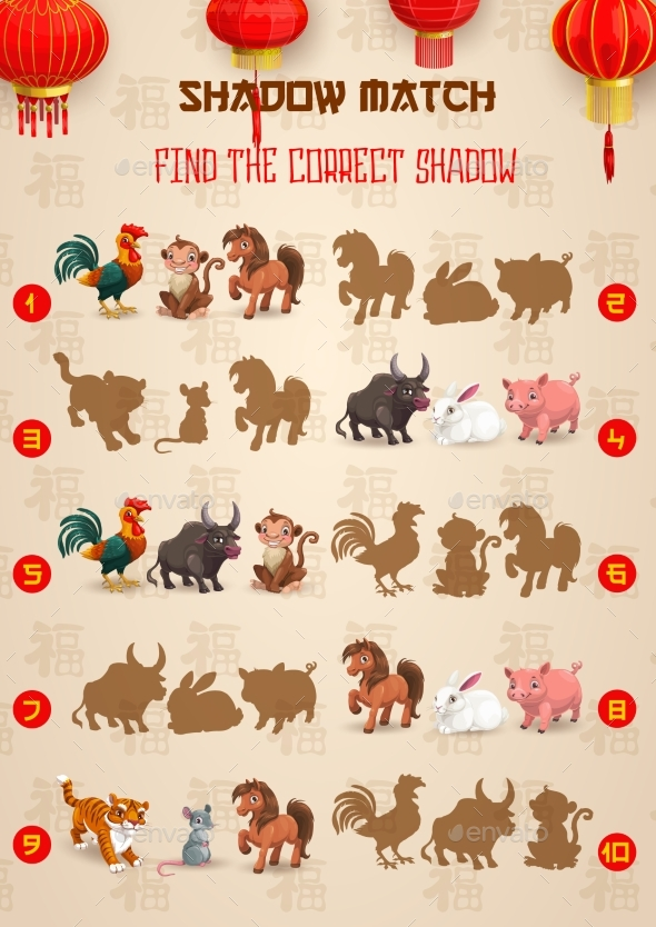 Kids Find Correct Shadow Game with Zodiac Animals
