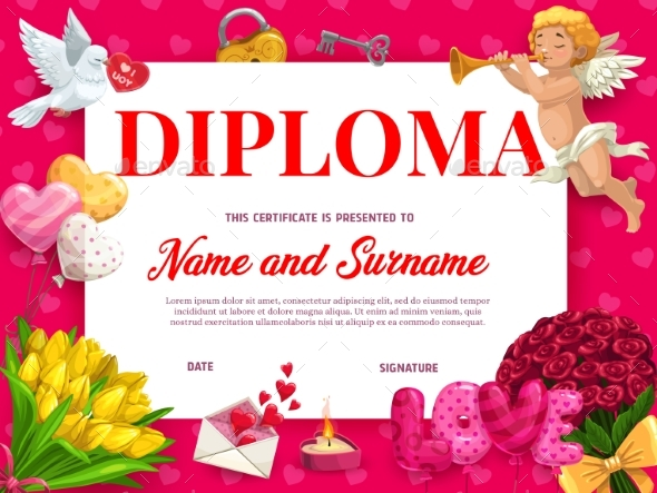 Valentines Day Diploma or Certificate Template