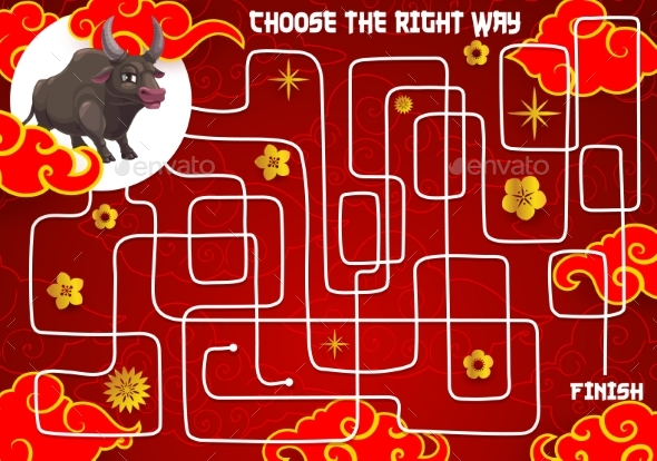Child New Year Holiday Maze Find Path Game Vector