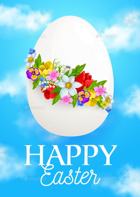 Easter Egg with Spring Flower Wreath