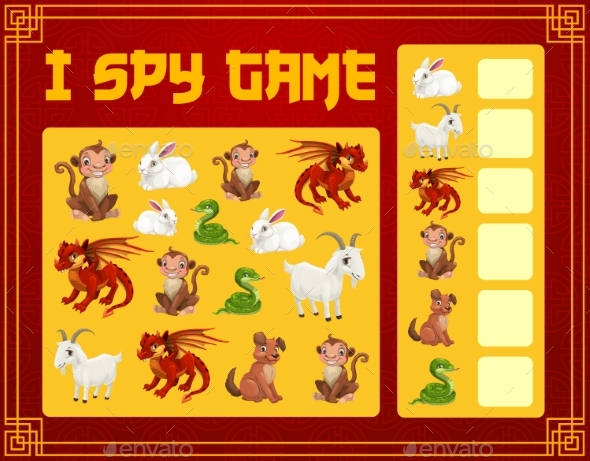 Kids I Spy Game with Chinese Zodiac Animals Vector