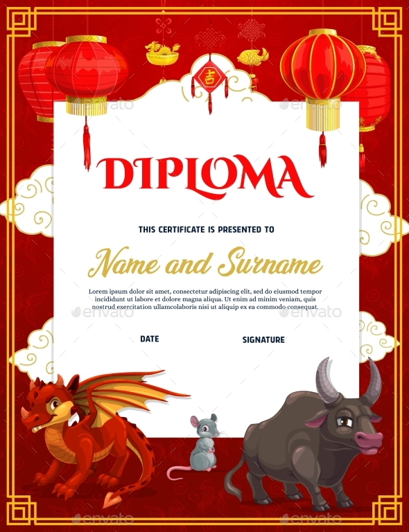 Child Diploma Template with Chinese Zodiac Animals