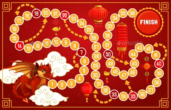 Child Board Game with Chinese New Year Symbols