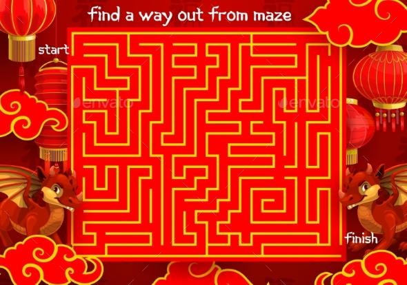 Children Labyrinth Kid Maze with Chinese Dragon