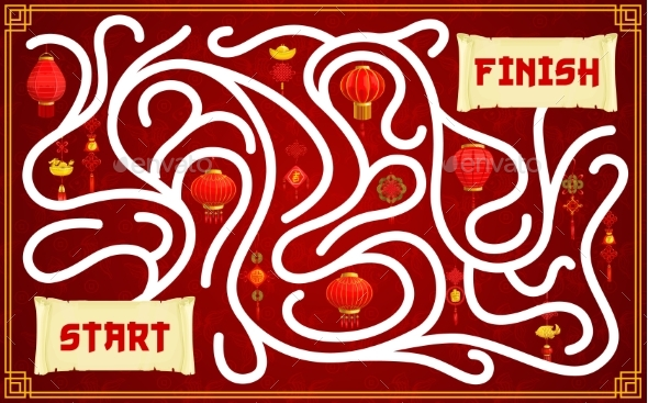 Child Labyrinth Game with Chinese Paper Lanterns