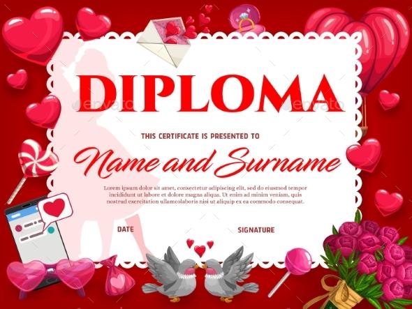 Wedding Celebration or Valentines Day Diploma