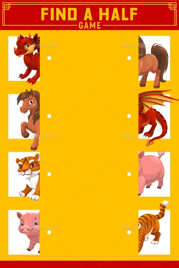Kids Find Right Half Game with China Zodiac Animal