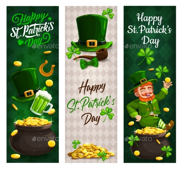 Patricks Day Irish Leprechaun Gold Clover Banners