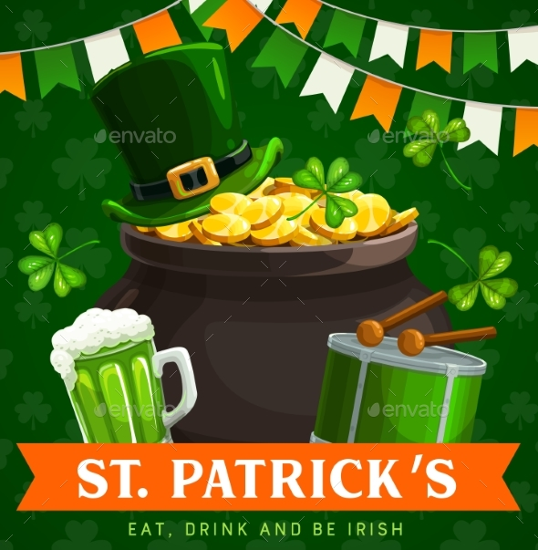Patricks Day Irish Holiday Pot of Gold Clovers