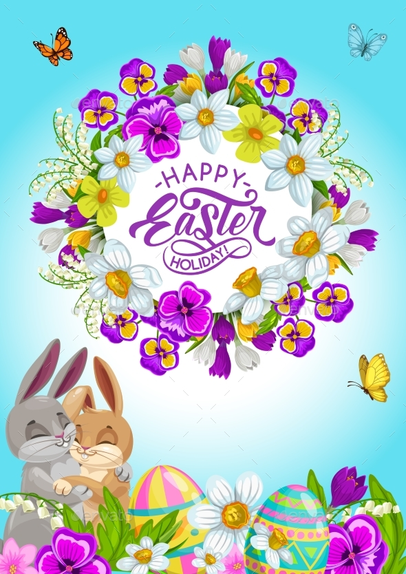Easter Eggs Bunnies and Holiday Flower Wreath