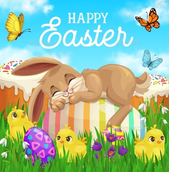 Easter Bunny Sleeping on Egg Green Grass Chicks