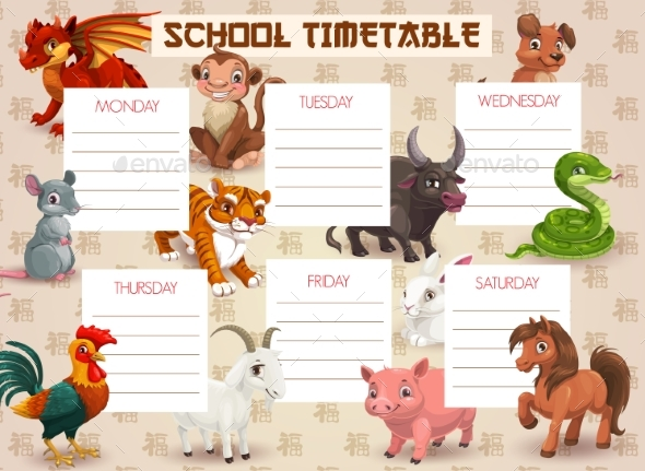 Kids School Timetable with Chinese Zodiac Animals