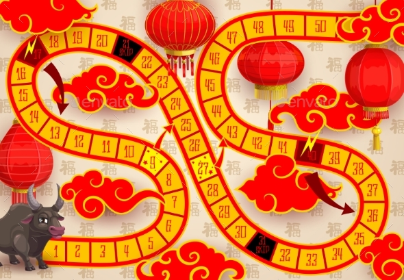 Child New Year Board Game with Ox or Bull