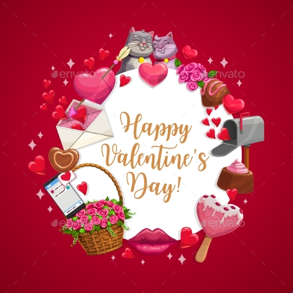 Happy Valentine Day Love Candy Hearts Cats Kiss