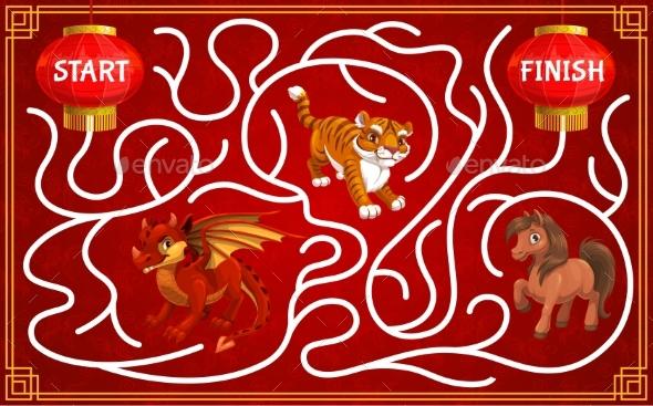 Children Maze with Chinese Zodiac Animals Vector