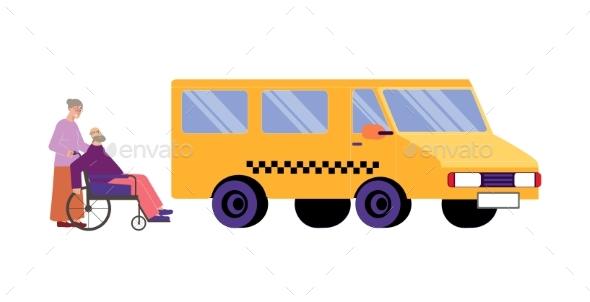 Taxi Flat Illustration