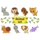 Set of Stickers with Cartoon Characters - GraphicRiver Item for Sale