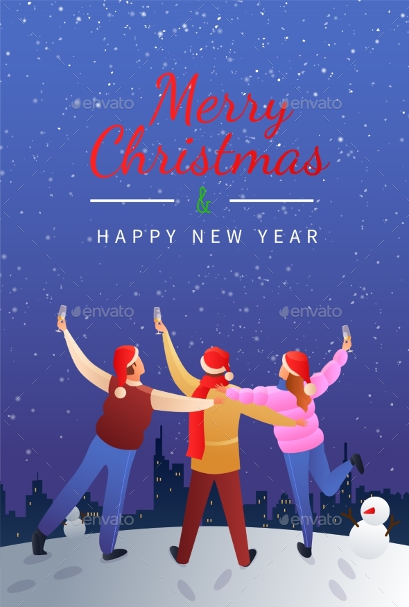 Merry Christmas Flat Gradient Poster