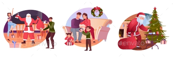 Christmas Flat Compositions