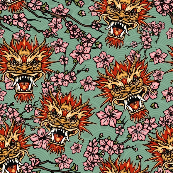 Oriental Traditional Elements Seamless Pattern
