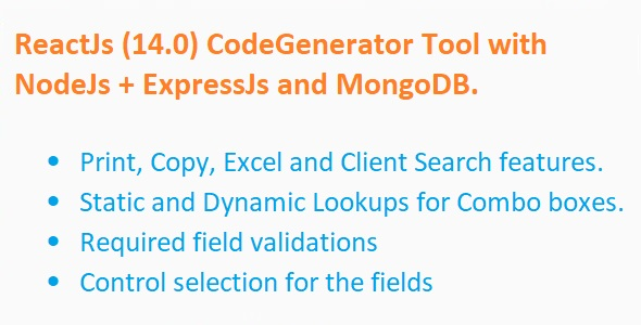 Code Generator for ReactJS + NodeJs + ExpressJS + MongoDB (MERN)