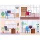 A Set of Empty Office Workplace Interior Design - GraphicRiver Item for Sale
