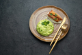 Pan fried ocean perch with snow peas puree and adamame, copy space - PhotoDune Item for Sale