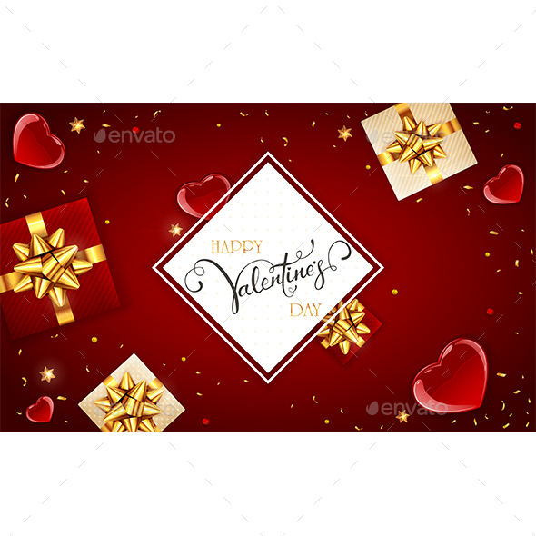 Holiday Card with Gifts and Hearts on Red Valentines Background