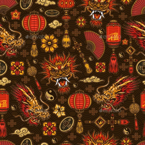 Chinese Traditional Elements Seamless Pattern