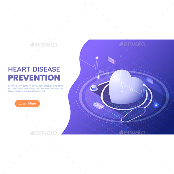 Isometric Web Banner Heart with Stethoscope and ECG Heartbeat on Blue and Purple Gradient Background