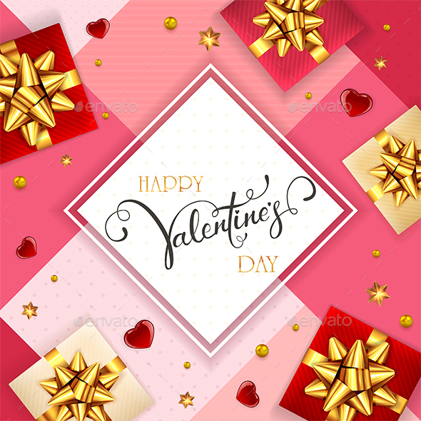 Pink Valentines Background with Gifts and Hearts