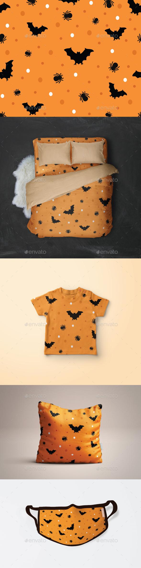 Seamless Halloween Bat and Spider Pattern