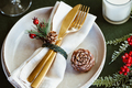 Festive table setting with winter decor. The concept of Thanksgiving or Christmas - PhotoDune Item for Sale