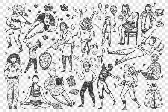 People Hand Drawn Doodle Set